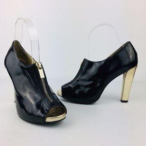 Michael Kors Black Patent peep toe heels